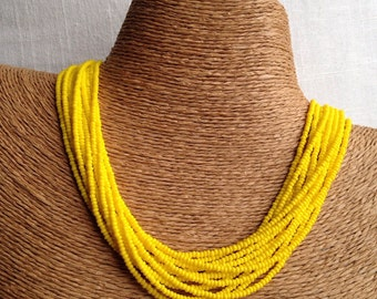 Yellow beaded necklace, yellow seedbead multi-strand necklace, yellow bridesmaids, yellow necklace, bridesmaids necklace, yellow multistrand
