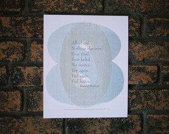 Fail Better Samuel Beckett Quote 3 Color Broadside Poster
