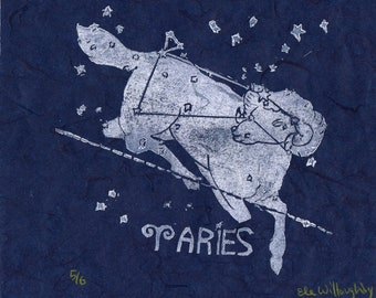 Aries Constellation Linocut - Constellations of the Zodiac Collection Aries Print