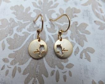 Matt Gold Bird Earrings on Gold Plated Surgical Steel Earring Hooks