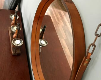 HANDMADE LOFT-living leather mirror various diameters colour light brown