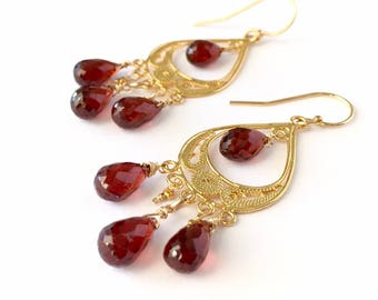 Red Garnet Gold Vermeil Filigree Chandelier Earrings. OOAK Gold Dark Burgundy Natural Garnet Chandelier Earrings. Valentines Day