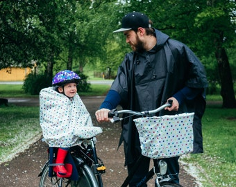 Child bike seat cover for rain and snow
