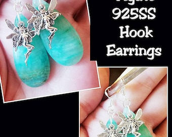 Green Onyx Crystal with Tibetan Silver Fairy or Angel charm 925SS Earring hooks