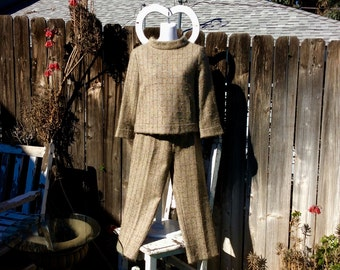 Mohair Tweed Women's Pantsuit: Joseph from FRANCE, 70's - Extravagant Details, Excellent Condition