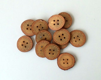 New - Wood Buttons-12  Handmade BlackJack tree branch buttons with the bark-1 2/5 inches diameter.Special for knitting hats.Diy,crochet hats