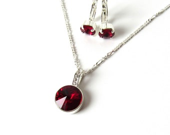 Dark Red Necklace, Dark Red Earring Set, Gift for Wife, Swarovski Crystal Jewelry Set, Deep Red Jewelry Set, Gift for Her, CHOOSE LENGTH