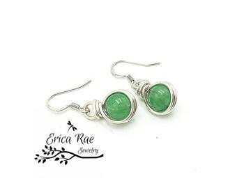 Jade earrings, mint green earrings, gemstone earrings, dangle earrings, silver earrings, wire wrap earrings, beaded earrings