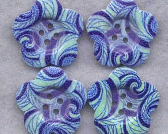 Blue Swirl Wood Buttons Decorated Wooden Buttons 28mm (1 1/8 inch) Set of 8 /BT293