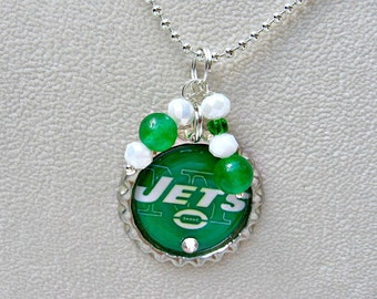 New York Jets Necklace, New York Jets Jewelry, Jets Accessories, NY Jets Jewelry, Jets Home,  NY Jets Football, Football Mom, Jets Fan Wear