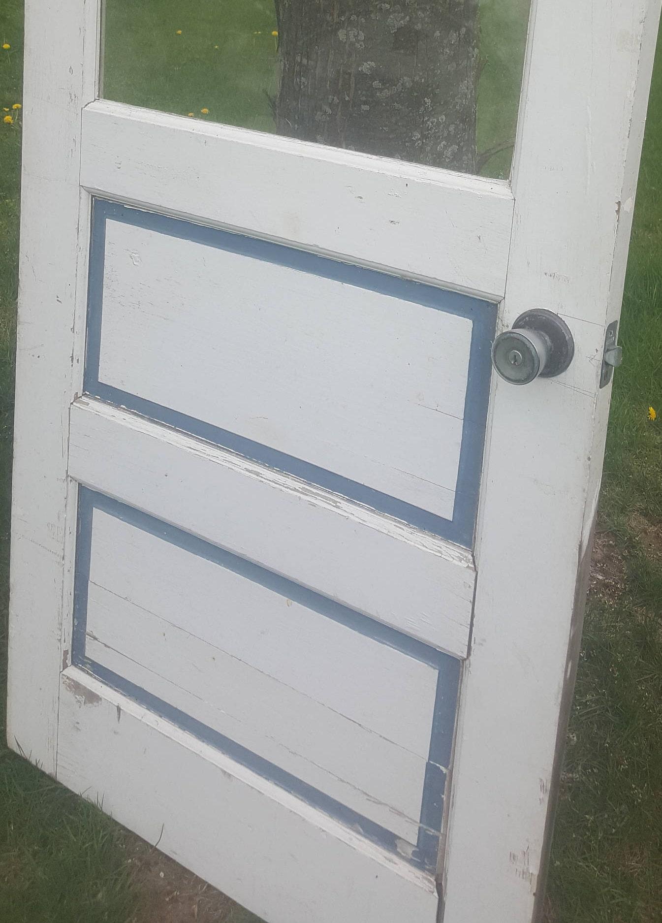 Old Wood Door W3 Pane Window 32 X 77 Architectural Salvaged