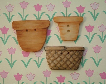 Basket and pots Button set of 3