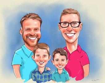 Dad Portrait Gift / Dad Cartoon Caricature / Father Portrait Gift / Daddy Portrait / Husband Portrait / custom dad portrait / dad caricature