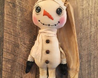 Farmhouse Primitive Snowman Folk Art Shelf Sitter Ornament Christmas Decor