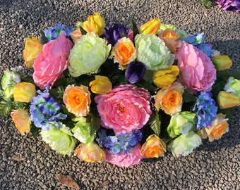 Large Saddle Arrangement for Gravestone or Ground  / Cemetery Arrangement / Cemetery Flowers