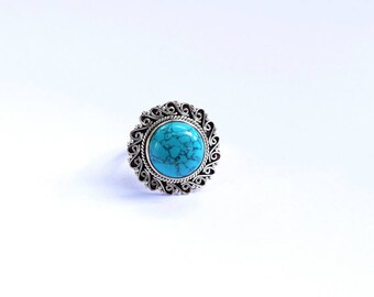 Turquoise Ring-Statement Ring-Turquoise Silver Ring-Sterling Silver Ring -Boho Ring-Turquoise -Bali Ring-Large Turquoise ring -index ring 25