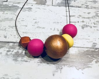 Big Bold Necklace / Polymer clay necklace / chunky statement necklace / pink / yellow, rose gold, copper beads / Mother's Day / geometric