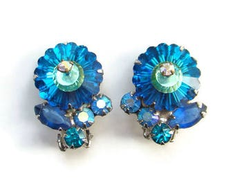Vintage Juliana Teal Blue Margarita Rhinestone Clip Earrings DeLizza Elster