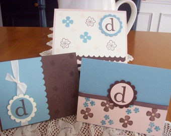 Monogrammed boxed stationery set, monogram notecards, monogram gift - set of 6 cards in box