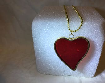 Necklace, Pendant, Red Heart Pendant, Red Heart Necklace Silvered , Stained Glass Necklace,Large Red Heart Necklace