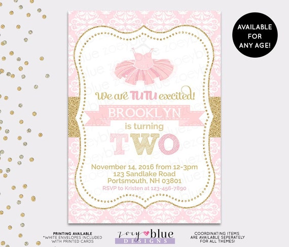 Tutu birthday invitation ballerina ballet 1st first like this item filmwisefo Image collections