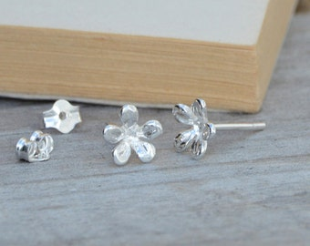 little flower earring studs in sterling silver, everyday earrings, made in England