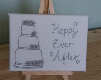 Small hand embroidered wedding canvas