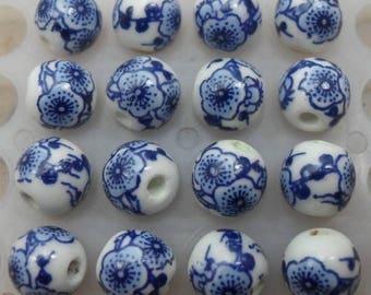 2 ceramic beads, blue, white round 8MM.