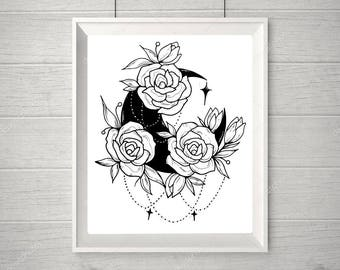 Moon with Roses Print