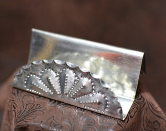 tin business card holder simple hand punched New Mexican tinwork Jason Younis y Delgado www.newmexicotinwork