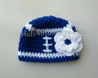 Indianapolis Colts Hat, Baby Girl Colts Hat, Baby Photo Prop Football Hat, Newborn Indianapolis Crochet Hat, Infant Football Hat, Crochet