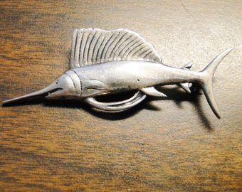 "Stunning Sterling Silver Figural Sailfish / Swordfish Brooch - 9 Grams - 2 7/8"" Long - Marked Sterling (Hard To Read) - Great Piece!"