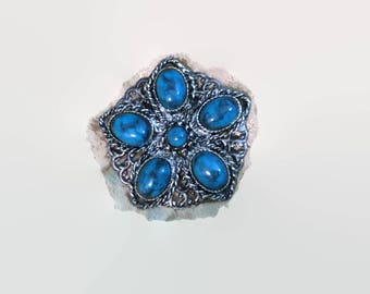 Turquoise in Silver Tone Brooch