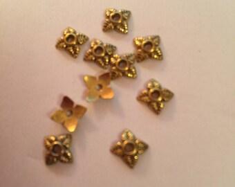 Matte gold spacer bead caps