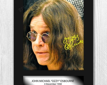 Ozzy Osbourne Black Sabbath signed reproduction A4 poster in a choice of frame.  Gift Christmas birthday home decor wall art wall hanging