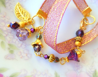 Beaded Wrap Bracelet, Woodland Charm Cluster, Purple Flower Bracelet, Gold Leaf Bracelet, Statement OOAK Bracelet Handmade by KreatedByKelly