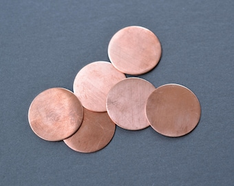 1 inch diameter copper blanks- set of 6- stamping blanks, metal disc blanks, metal stamping, raw copper discs, enameling blanks