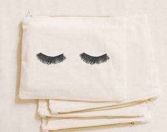 Makeup Bag - Lashes, Calligraphy, cosmetic, pencil case, clutch, wedding favor, present, bridesmaid gift, women's gift
