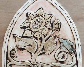 Arch shaped sunflower with burd handmade ceramic tile