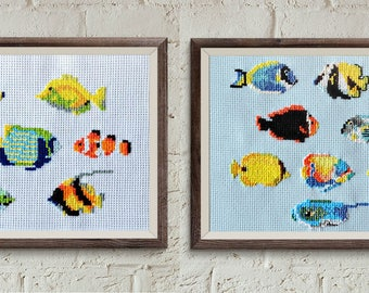 FISH cross stitch pattern set, modern cross stitch, diy hoop art, beginner embroidery, home decor, kawaii cross stitch, nursery cross stitch