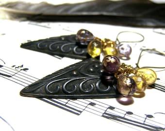 ON SALE Geometric Boho Earrings Czech Dangle Earrings Gift for her gift for friend Christmas gifts patterned brass drop dangle earrings