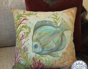 Captivating Coastal Pillow Cover | Fish Pillow Cover | Coastal Decor | Beach Decor |  Tropical Pillow