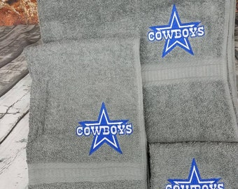 Dallas Cowboys 3 Piece NFL Embroidery Towel Bath Set Personalized Monogrammed Gift