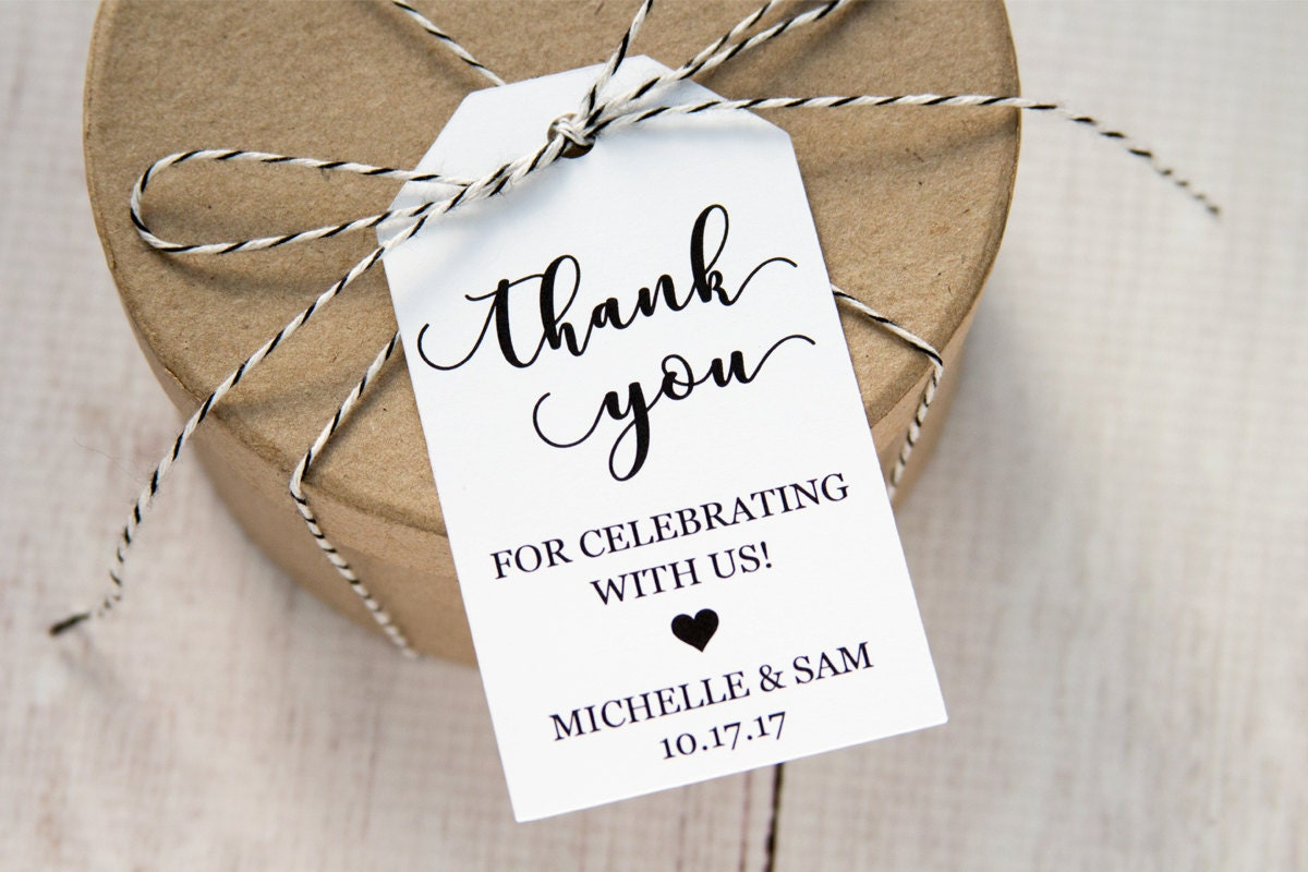 Thank you for celebrating with us - Wedding Favor Tags - Custom Tags ...