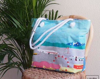 Beach bag, swimming pool bag, airport stamped bag and bathers, cotton bag, lace handles, with lining and inner pocket