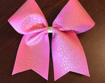 Gold dotted cheer bow