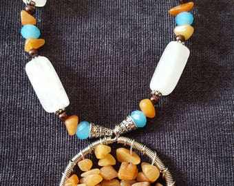 Artisan Handmade Citrine Tree of life with Italian onyx beads and blue ab swarvoski crystals
