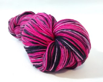 Fuschia Obsidian hand dyed merino nylon fingering/4ply/sock yarn