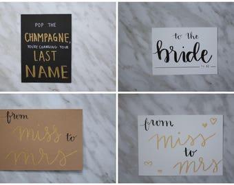 Hand Lettered Bridal Shower Greeting Cards