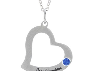 Granddaughter Heart Necklace With Personalized Birthstone, Stainless Steel